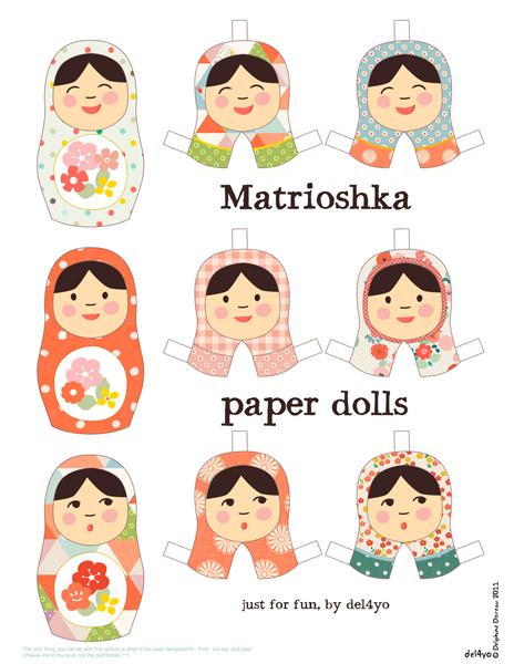 Бумажные куклы матрешки