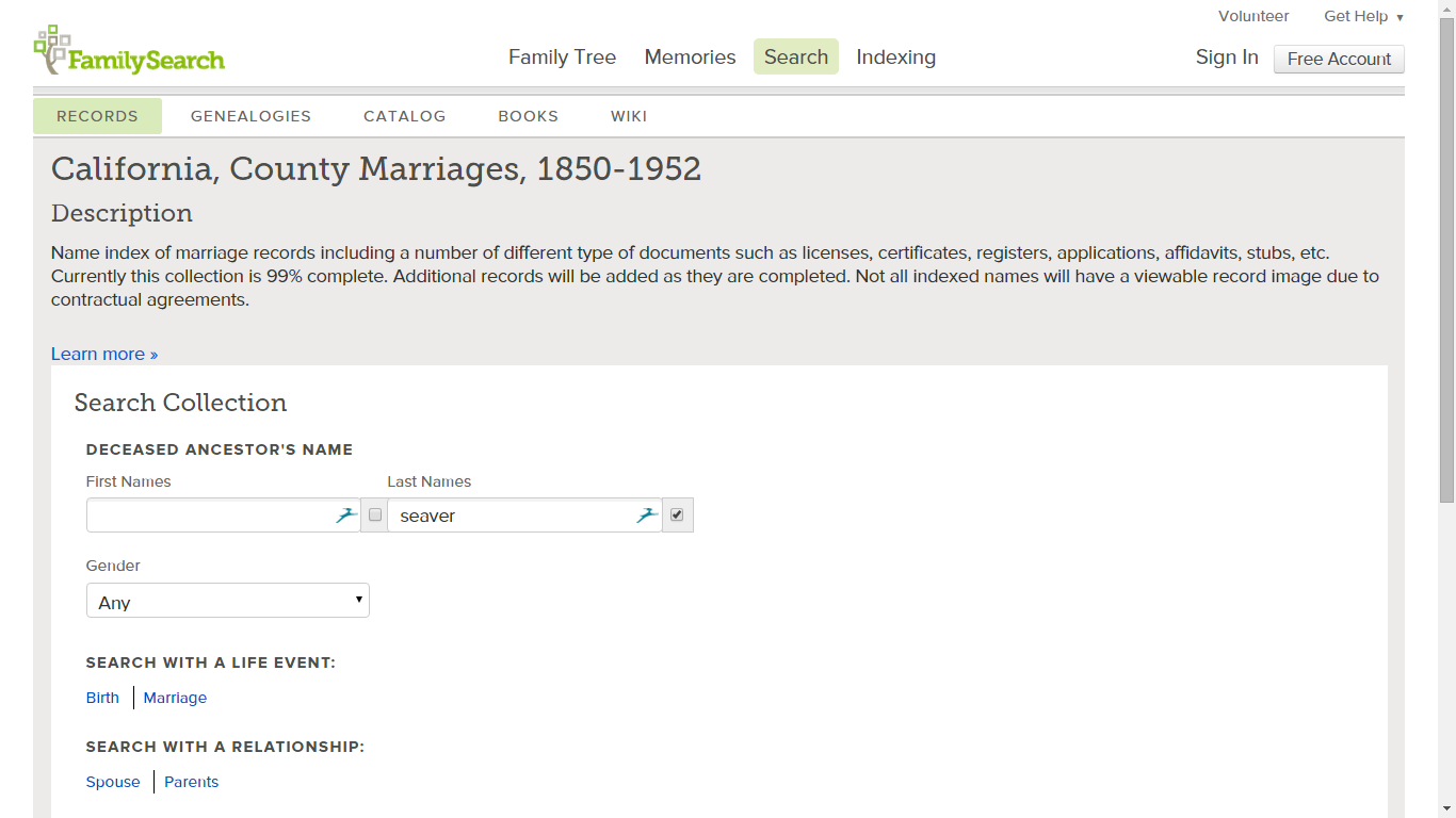 Genea musings mining the california county marriages 1850 1952 entries for san diego county yet significantly it has marriage records from san francisco los angeles orange fresno and many other counties aiddatafo Images