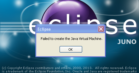 failed to create java machine