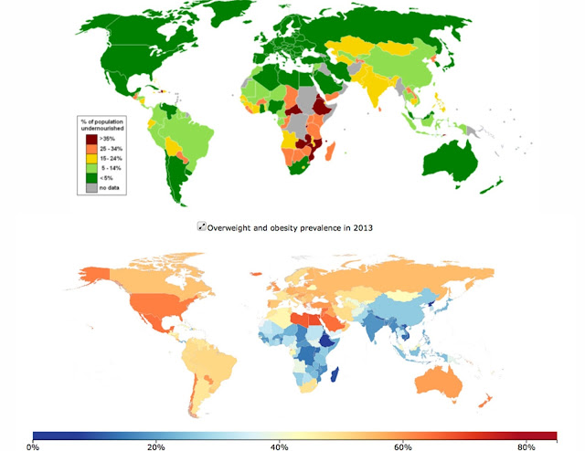 Worldwide malnourishment data from United Nations World Food Programme 2012, and the global prevalence of obesity.