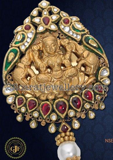 Lakshmi pendant with kundan work jewellery designs checkout 22 carat gold designer goddess lakshmi pendant set with kundan work studded with rubys and polki diamonds aloadofball Choice Image