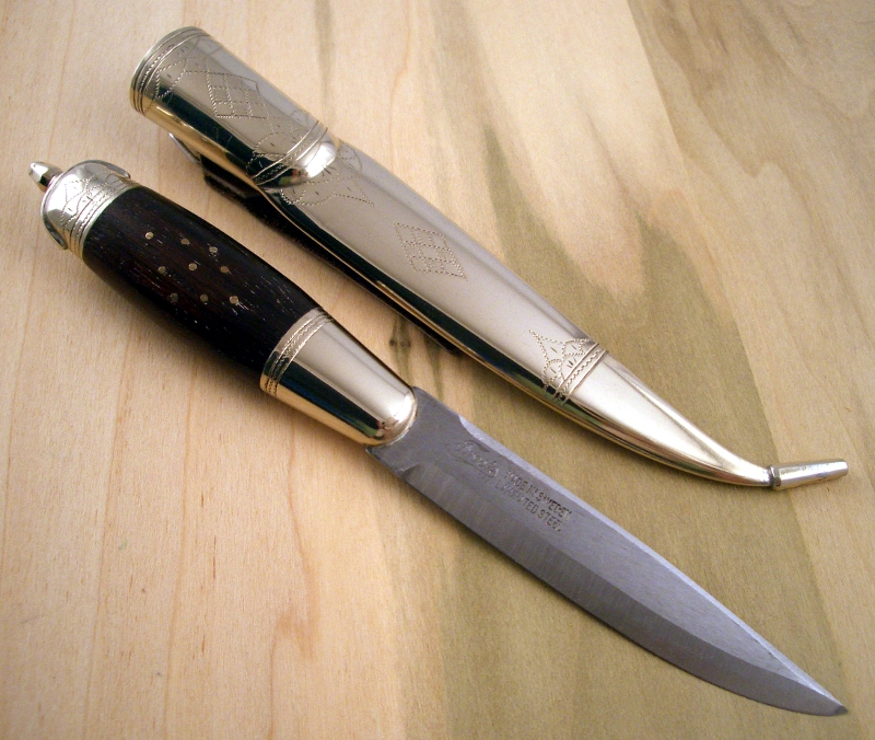 The Knife Has A Standard Frost Production Blade. The Ebony Handle Has  Nickel Silver Bolsters And Nickel Silver Pin Inlays. The Nickel Silver  Sheath And The ...