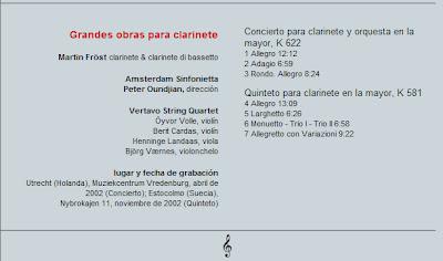 Mozart - Col. El País 250 Aniversario-(2006)-3-Grandes obras para clarinete-contenido