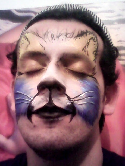 Pintura Facial Artística - Gato Colorido   015