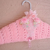 Dress hanger Crochet padded Clothes hanger satin Shabby lingerie dress hanger