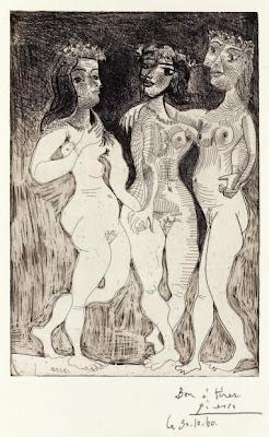 Picasso - TROIS FEMMES, OU LES TROIS GRÂCES COURONNÉES DE FLEURS. 1938.