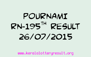 POURNAMI RN 195 Lottery Result 26-7-2015