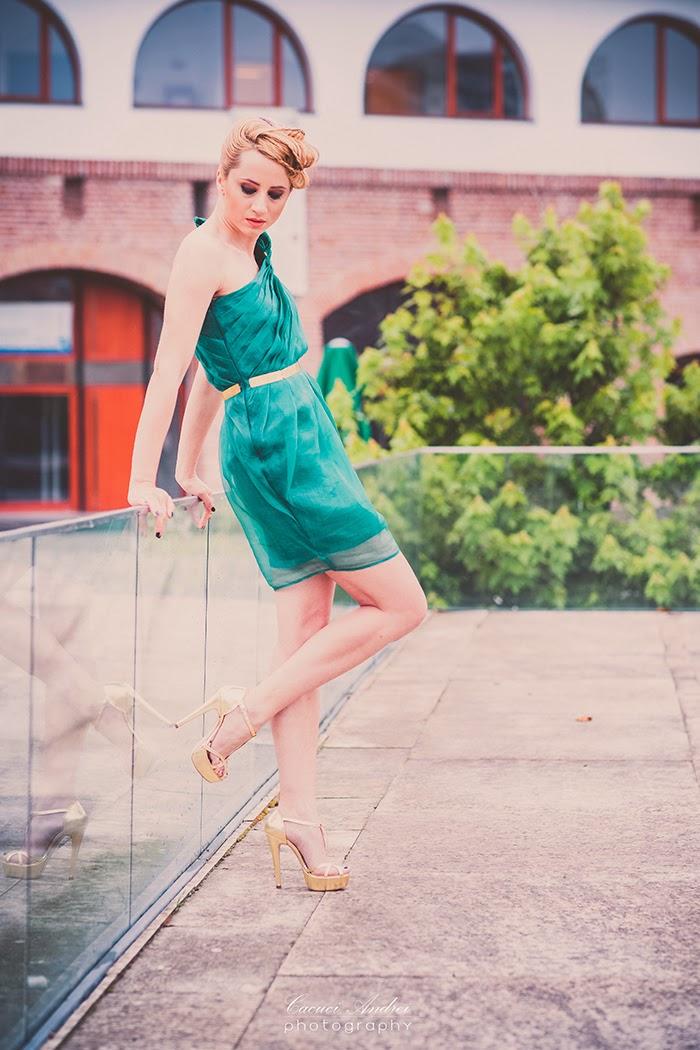 Fashion Fridays Md Burnette green silk dress Essenza gold shoes