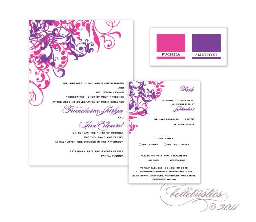 flourishes floral swirls swooshes pink purple printable diy wedding invitation design