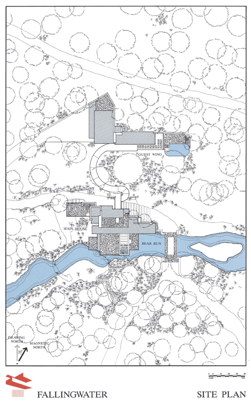 Fallingwater house casa de la cascada fayette county - Plano de la casa ...