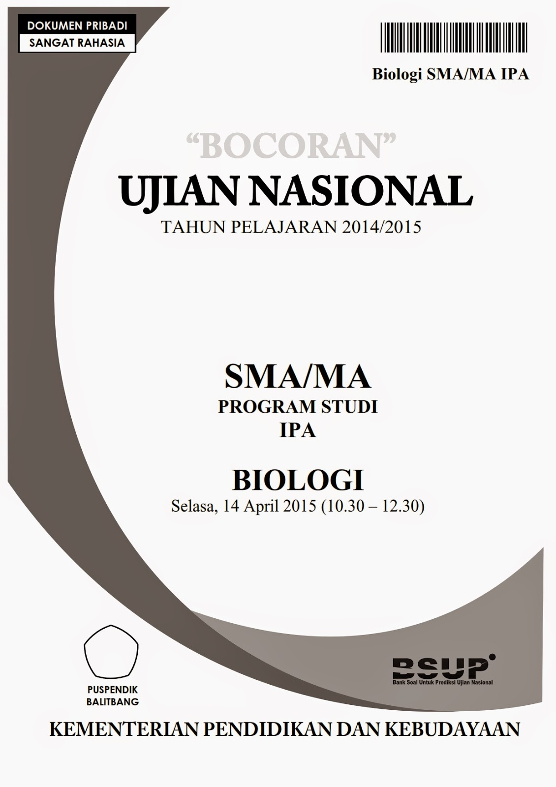 Bocoran Soal Un Biologi Sma 2015