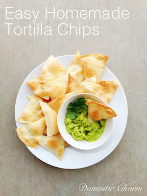 these are homemade baked tortilla chips that are super easy to make ...