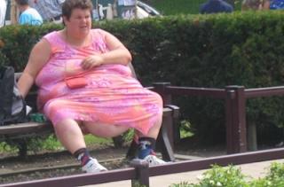 smešna slika: debela žena sedi na klupi