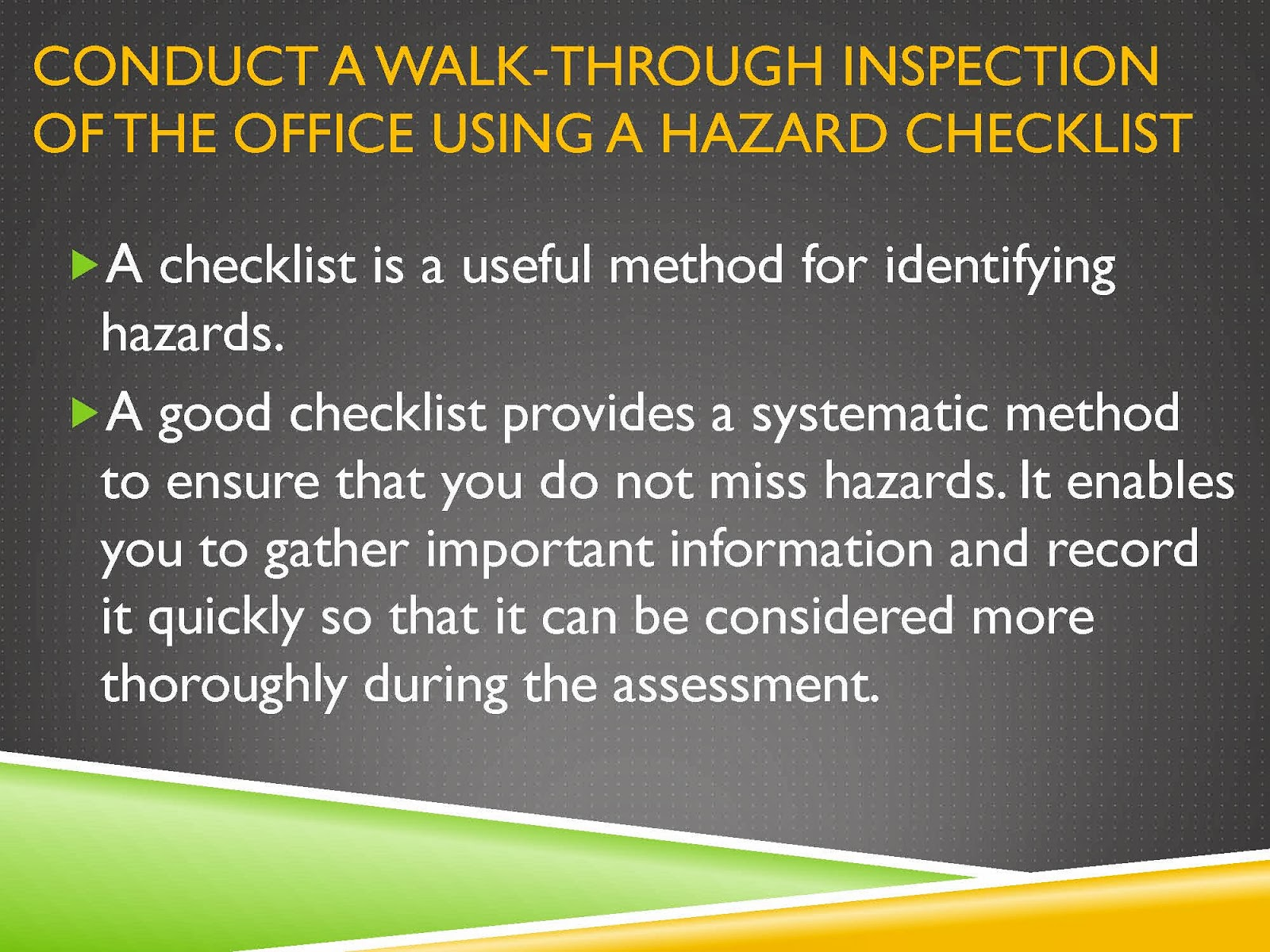 WALK-THROUGH OCCUPATIONAL HEALTH AND SAFETY HAZARD CHECKLIST
