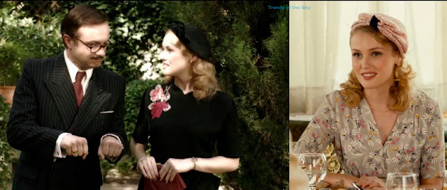 Rosalinda Fox vestido negro con rosas y, Rosalinda Fox vestido gris con flores. El tiempo entre costuras. Capítulo 4