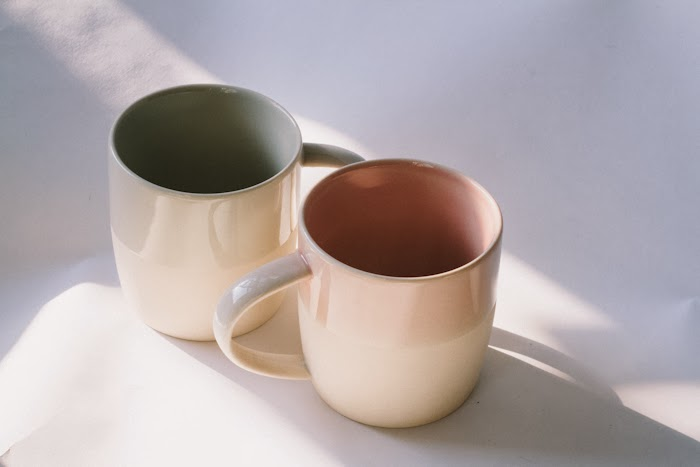 Hang-glazed coffee mugs from Canvas Home.