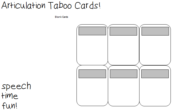 photograph regarding Taboo Game Cards Printable named Taboo Activity Card Template