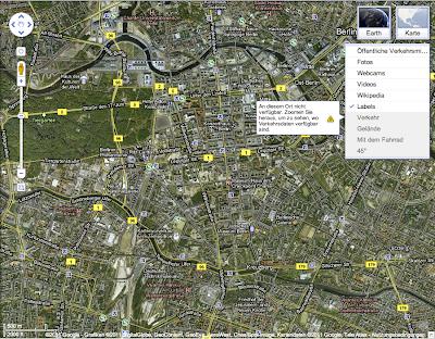 Beispiel Google Maps Optionen-Ansicht Berlin Layer