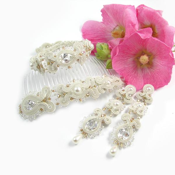 Komplet ślubny z cyrkoniami i perłami