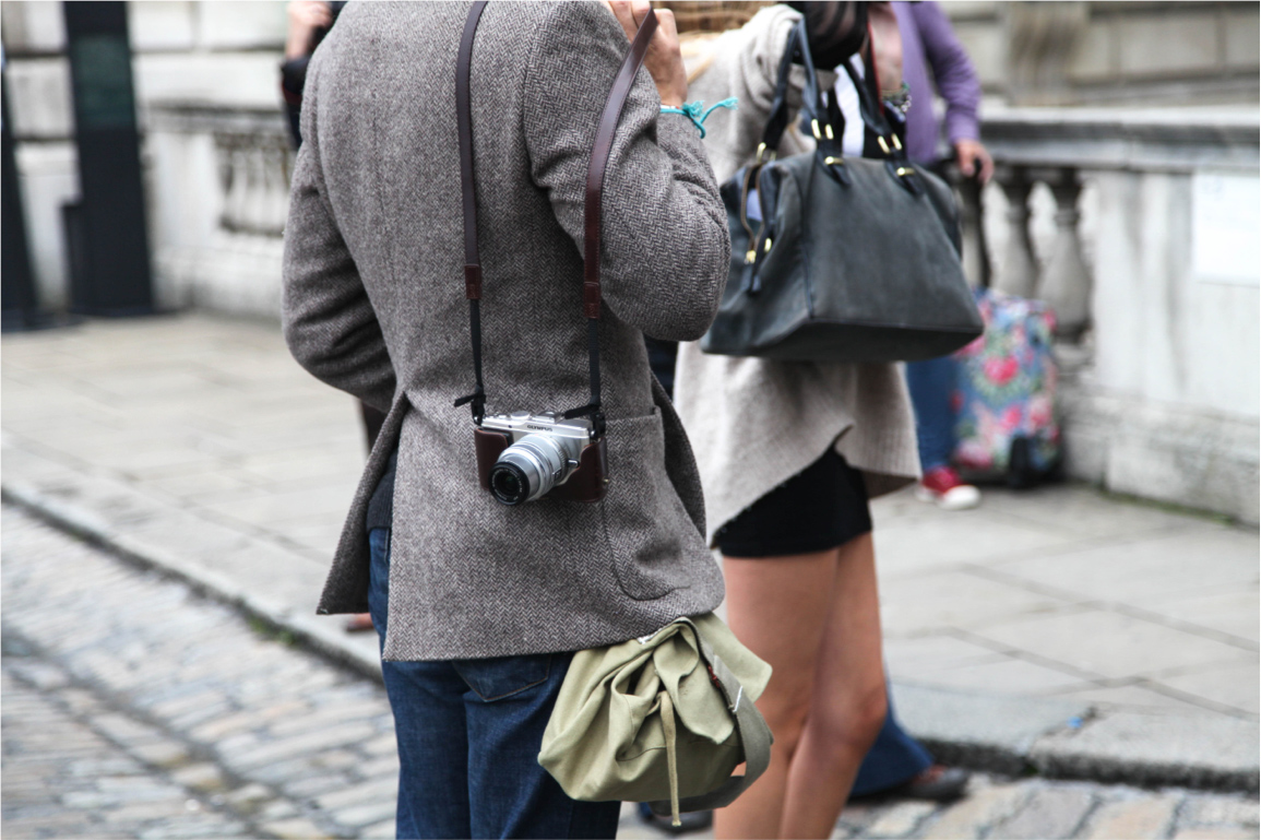 London Fashion Week streetstyle olympus camera wool blazer