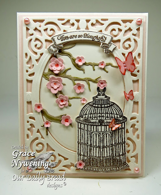 Our Daily Bread designs stamps, For the Love Birds, Bird Cage and Banner Dies, designed by Grace Nywening