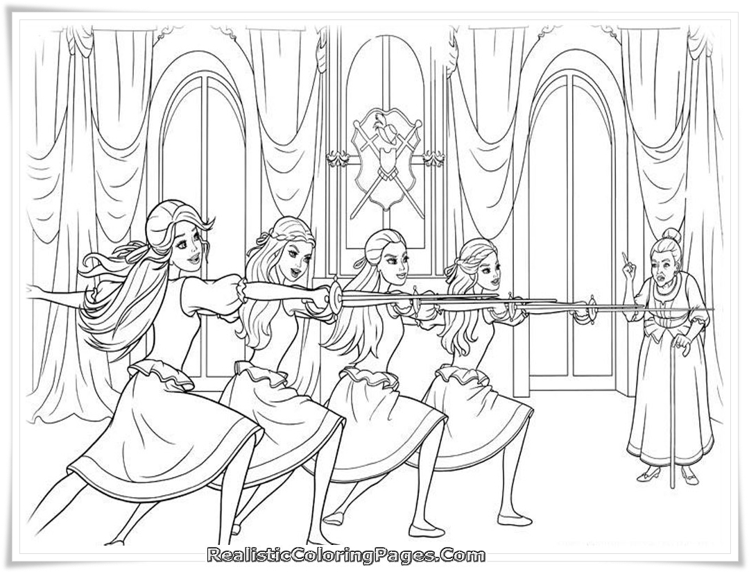 Free Coloring Pages Barbie Three Musketeers : Barbie and the three musketeer free colouring pages