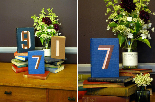 DIY Vintage Book Table Numbers