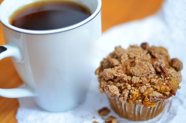 ... Pumpkin Spice Muffins with Pecan Brown Sugar Streusel Topping {Recipe