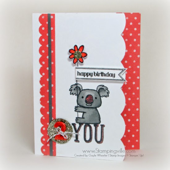 Cute children's birthday card with Stampin' Up! Kind Koala stamp