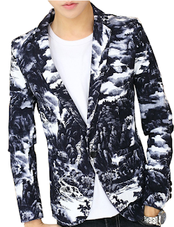 Clouds Artistic Navy Blue White Fashion Blazer At PerfectMensBlazers.Com