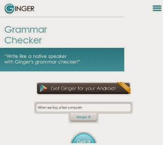 Grammer Check website by Ginger Software