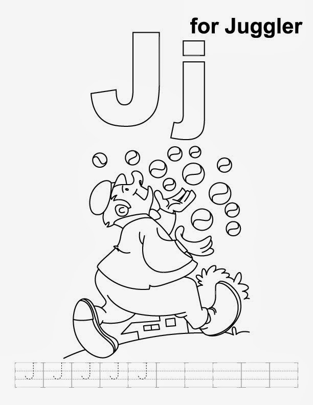 Printable Alphabet Coloring Pages Juggler