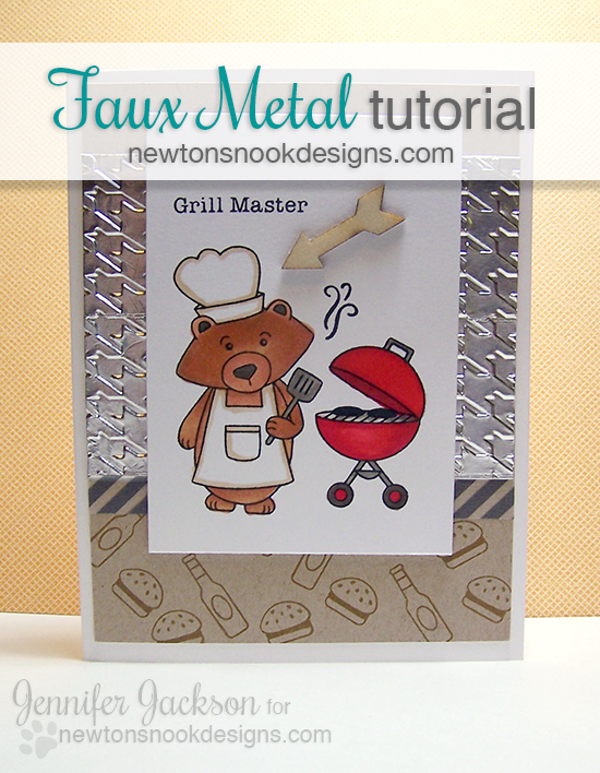 Faux Metal Tutorial | Grill Card with Winston's BBQ | Newton's Nook Designs