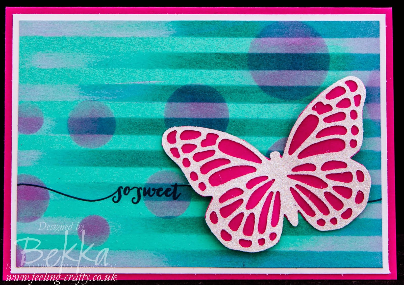 So Sweet Butterfly Card with a Stenciled Background by Stampin' Up! UK Independent Demonstrator Bekka - check her blog for lots of cute ideas