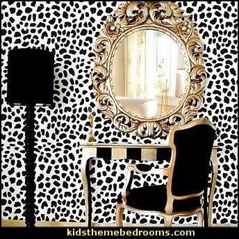 Leopard skin pattern stencil animal print wall decorating ideas