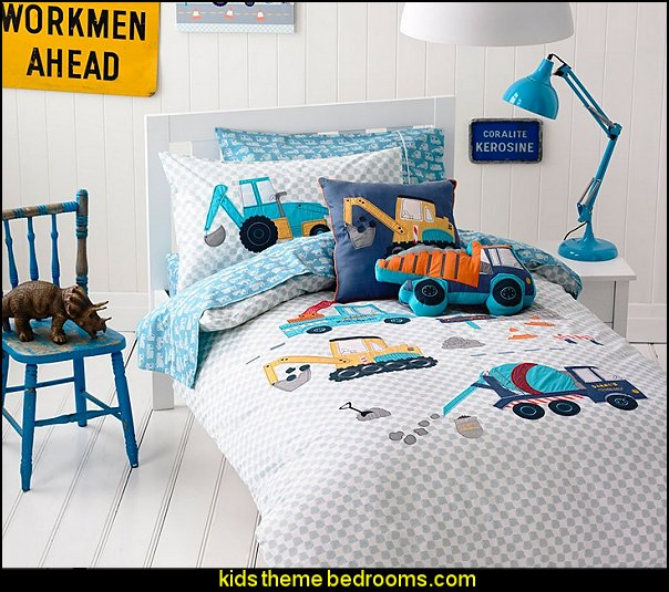 MakeTop Excavator Construction Vehicles Trucks Kids Boys Bedding Set