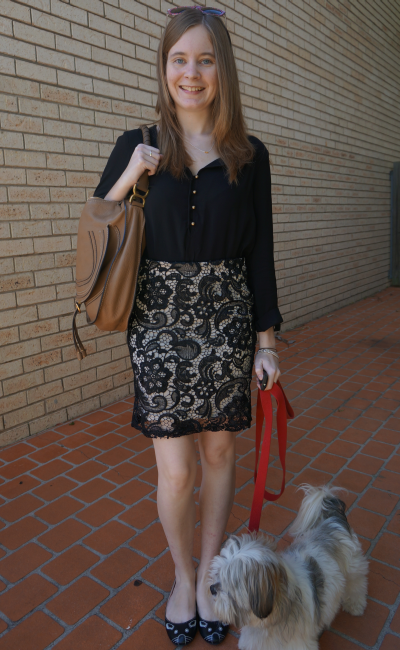 Jeanswest tilda shirt tucked into living doll black lace pencil skirt