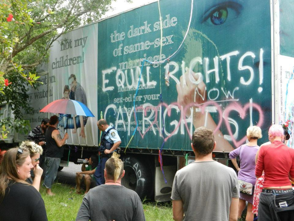 """Lismore's gay and lesbian community has grounded a truck displaying signage ..."
