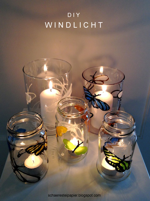 schaeresteipapier diy windlicht mit bunten schmetterlingen. Black Bedroom Furniture Sets. Home Design Ideas