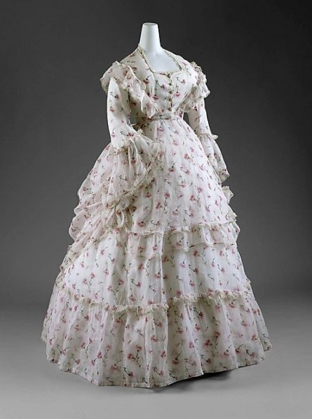 White Flower Printed Victorian Dress