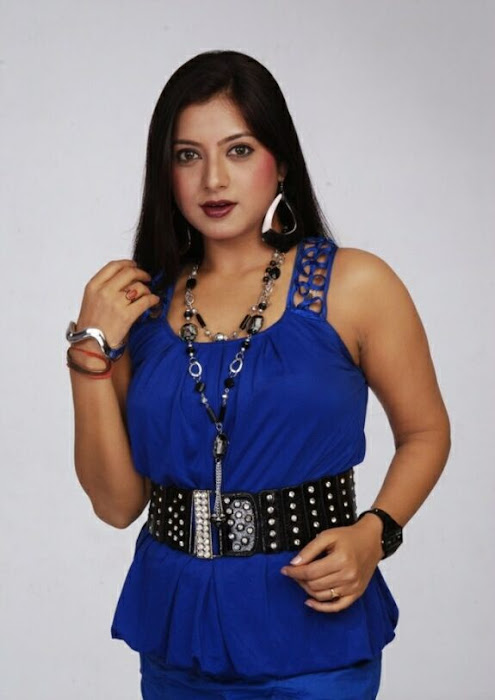 keerthi chawla spicy shoot in blue dress