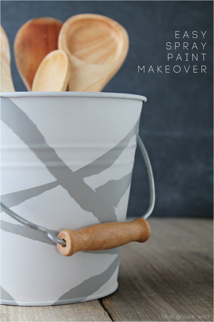 Spray painted bucket makeover love grows wild for Spray paint makeovers