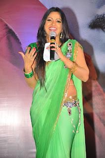 Udaya Bhanu spicy pics in Green Saree at Nippu Music Release