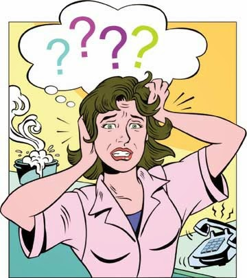 picture of woman in pink top with question marks over her head looking stressed