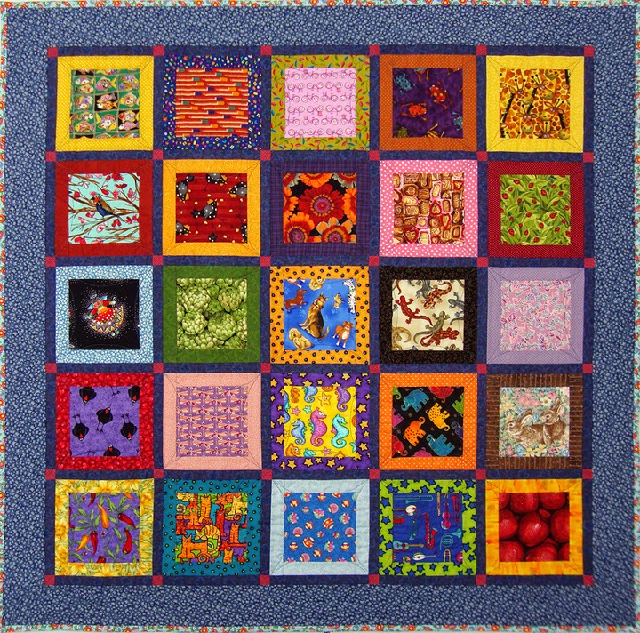 Robin Atkins, I Spy quilt, note layout of blocks, particularly yellow