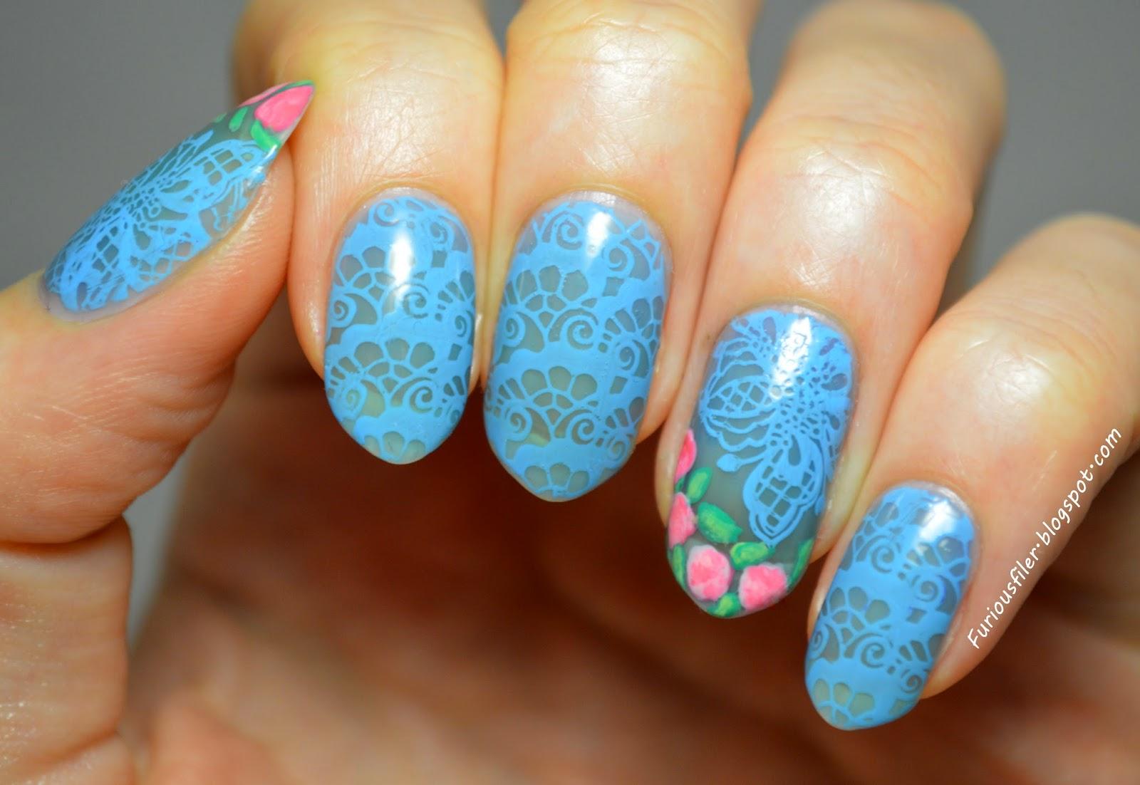 Sheer tint blue lace MoYou bridal