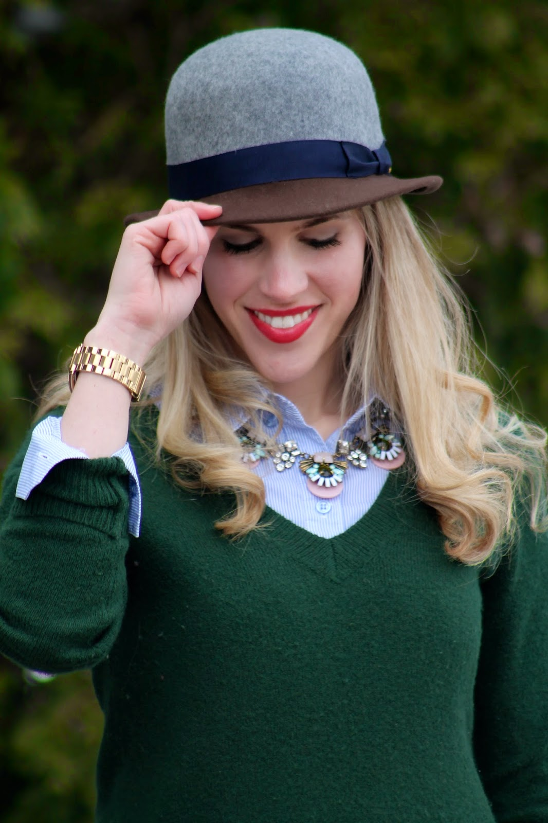 green sweater pinstripe button up jeans bowler hat