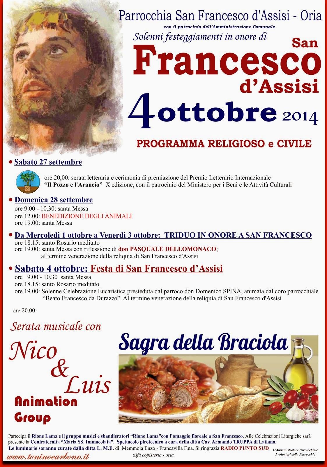 festeggiamenti san francesco d'assisi