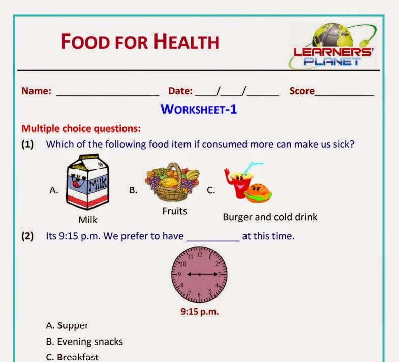 Food for Health Science revision worksheets videos class 2 cbse – Healthy Food Worksheets