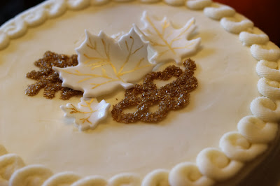 Fall cake with gold leaves